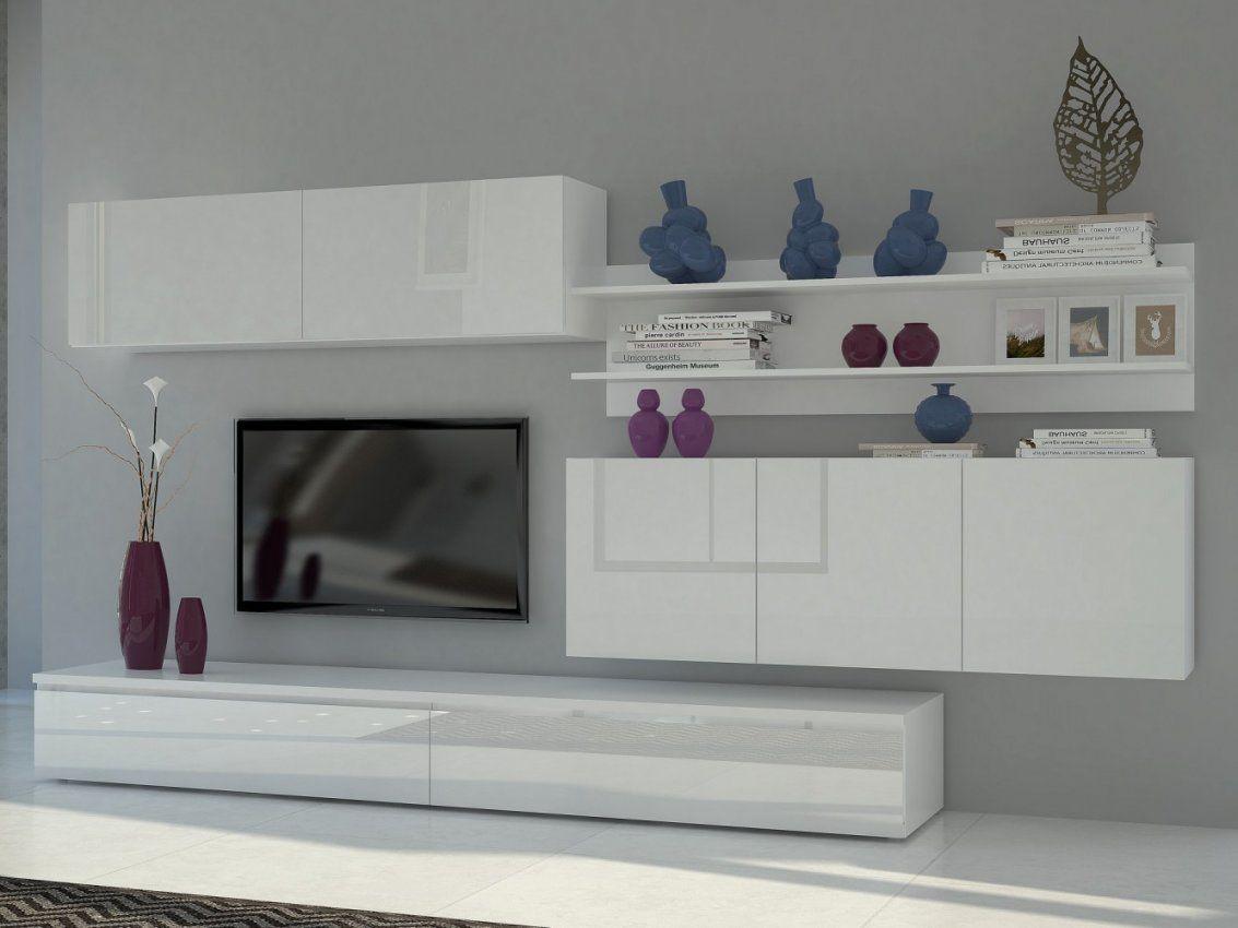 Tecnos Wohnwand Forte (4Tlg) Weißweiß Hochglanz von Designer Wohnwand Weiß Hochglanz Photo
