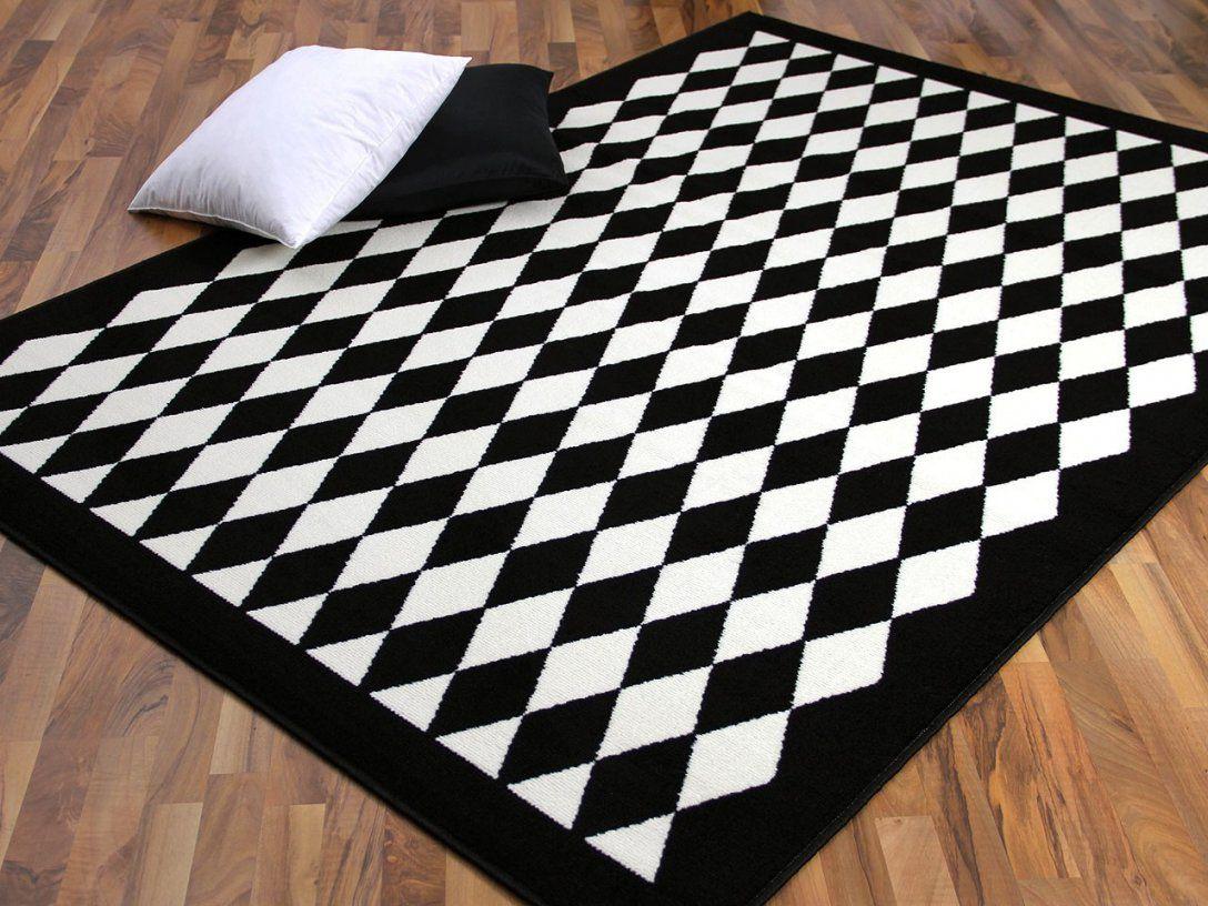 Teppich Trendline Schwarz Weiß Raute  Abverkauf Teppiche von Teppich Gestreift Schwarz Weiß Bild