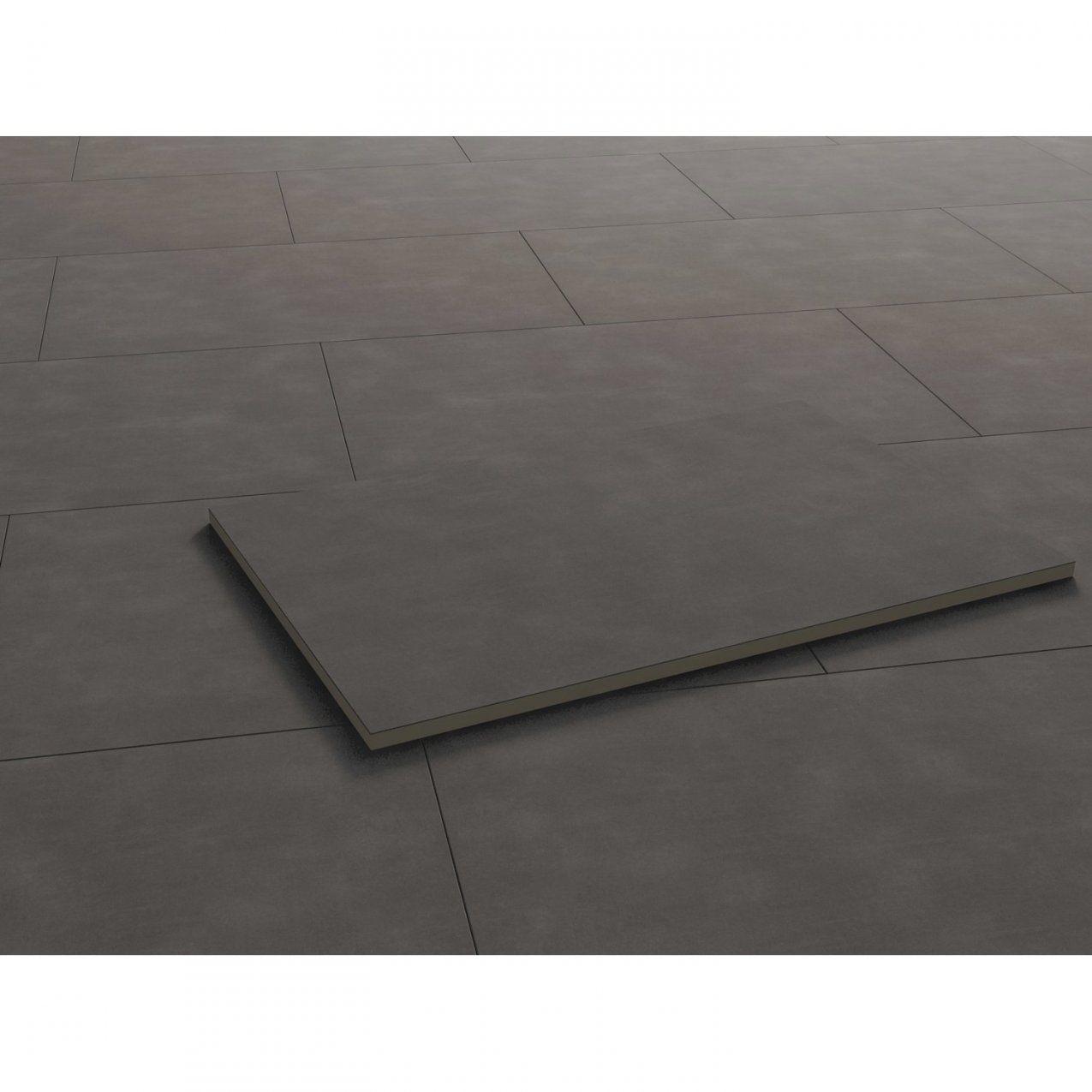 Terrassenplatte Feinsteinzeug Streetline Graphit 90 Cm X 60 Cm von Betonplatten Auf Beton Kleben Bild