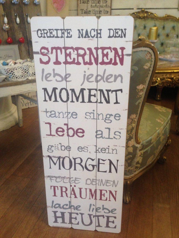 """Textschild Tafel Schild """" Greife Nach Den Sternen"""" Shabby Vintage von Deko Schilder Mit Sprüchen Photo"""