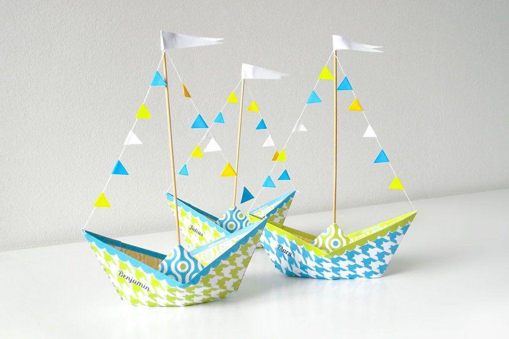 Tischdeko Papierschiff Kindergeburtstag  Paper Art  Pinterest von Tischdeko Kindergeburtstag Selber Basteln Bild