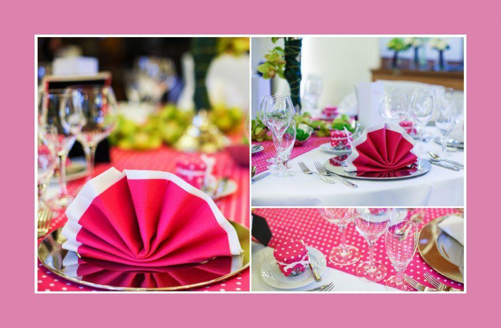 Tischdeko Rosa – Tischdekotips von Servietten Falten Hochzeit Zweifarbig Bild