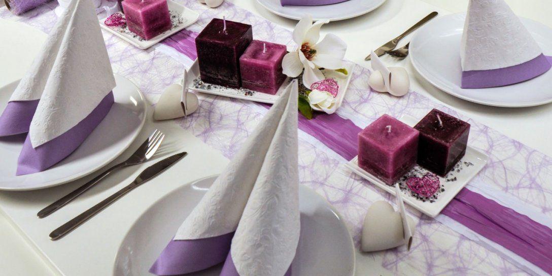 Tischdekoration Nach Farben  Tischdekoshop von Tischdeko Hochzeit Lila Weiß Photo