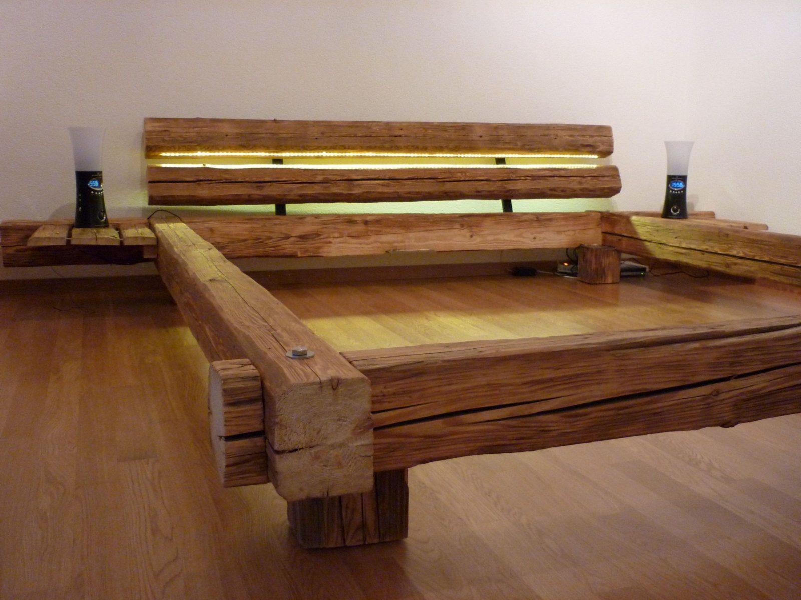 Tolle Bett Aus Massivholz  Holzmöbel  Pinterest  Bett Bauen Bett von Bett Aus Alten Holzbalken Bild