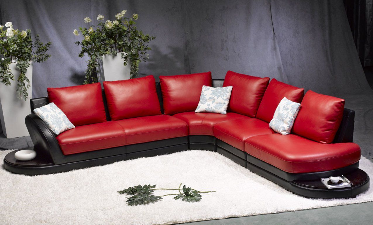 Tosh Furniture Modern Redblack Leather Sectional Sofa  Flap Stores von Red And Black Furniture Bild