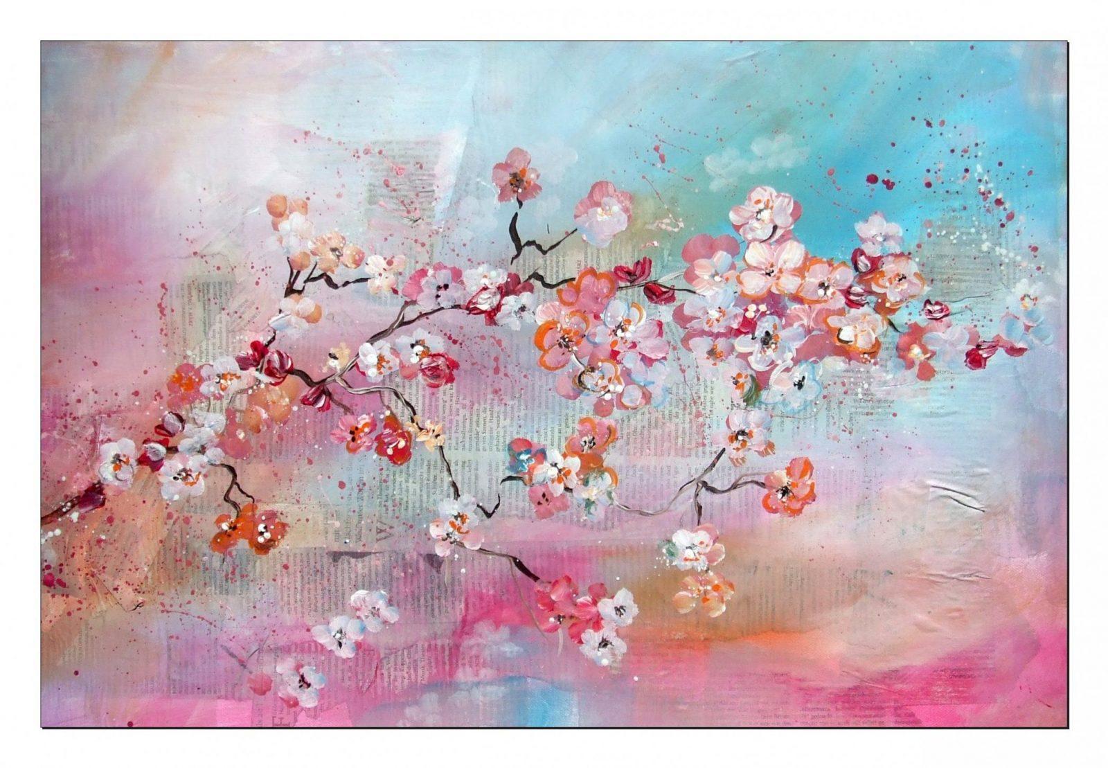 Tutorial Kirschblüten Malen (Anfänger) Cherry Blossoms(Beginners von Acrylbilder Für Anfänger Anleitung Photo