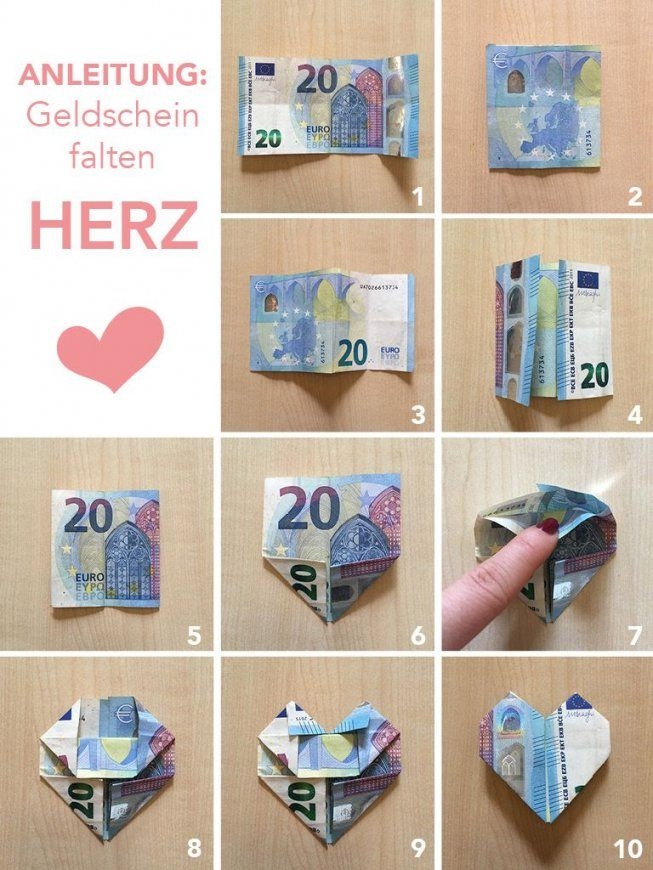 Tutorialanleitung Geld Falten Herzen – Diy Hochzeitsgeschenk Im von Geldschein Als Herz Falten Bild
