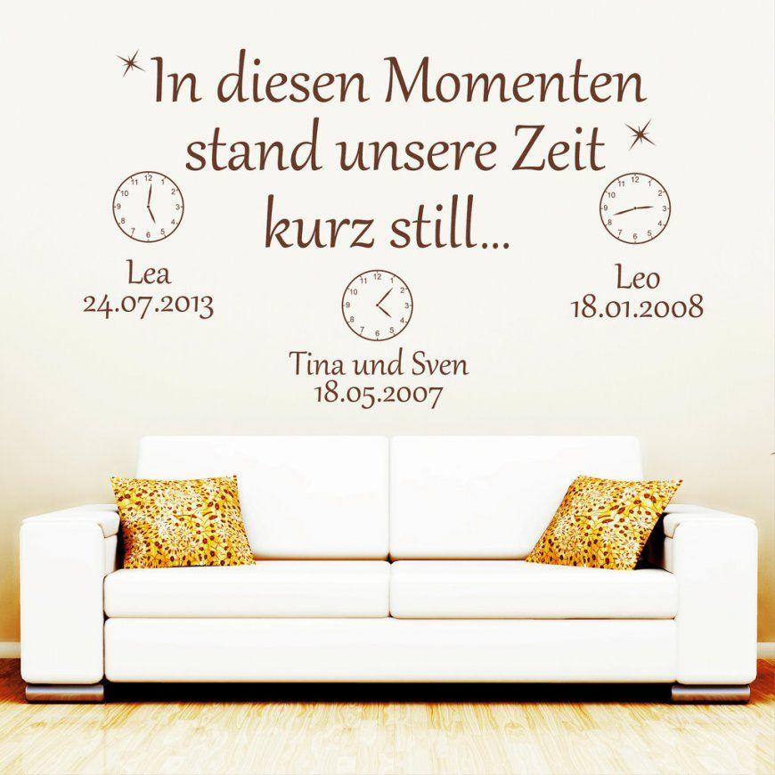 Uhr Mit Wunschname Und Datum  Wandtattoos von Wandtattoo Uhr Mit Spruch Photo