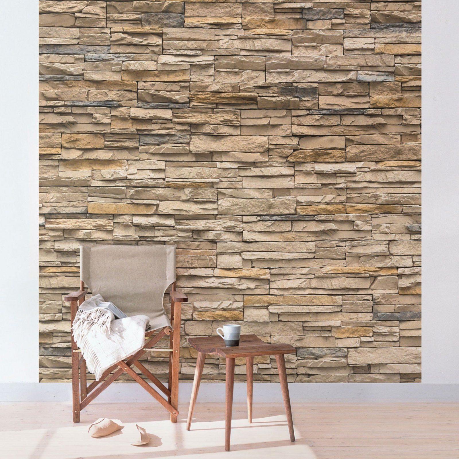 Unbelievable Steintapete Beige Wohnzimmer Braun Grau 3D Stein Tapete von Tapete Steinoptik 3D Wohnzimmer Bild