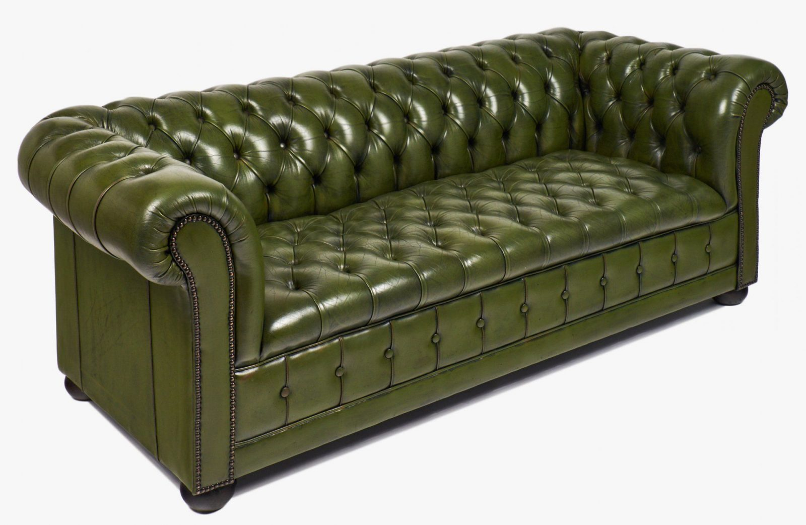 Vintage Green Leather Chesterfield Sofa  Jean Marc Fray von Green Leather Chesterfield Sofa Bild