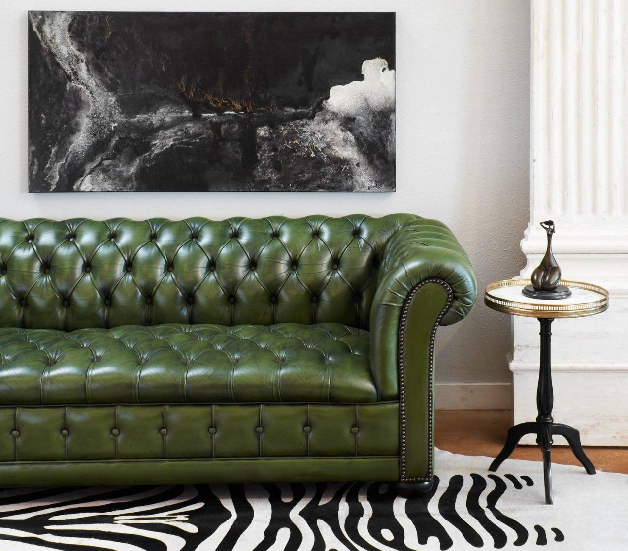 Vintage Leather Chesterfield Sofa At 1Stdibs von Green Leather Chesterfield Sofa Photo
