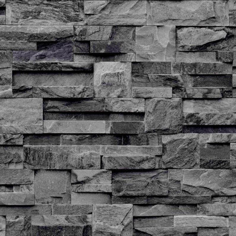 Vlies Tapete Bruchstein Stein Muster Grau Anthrazit Schwarz Braun von Stein Tapete 3D Optik Bild