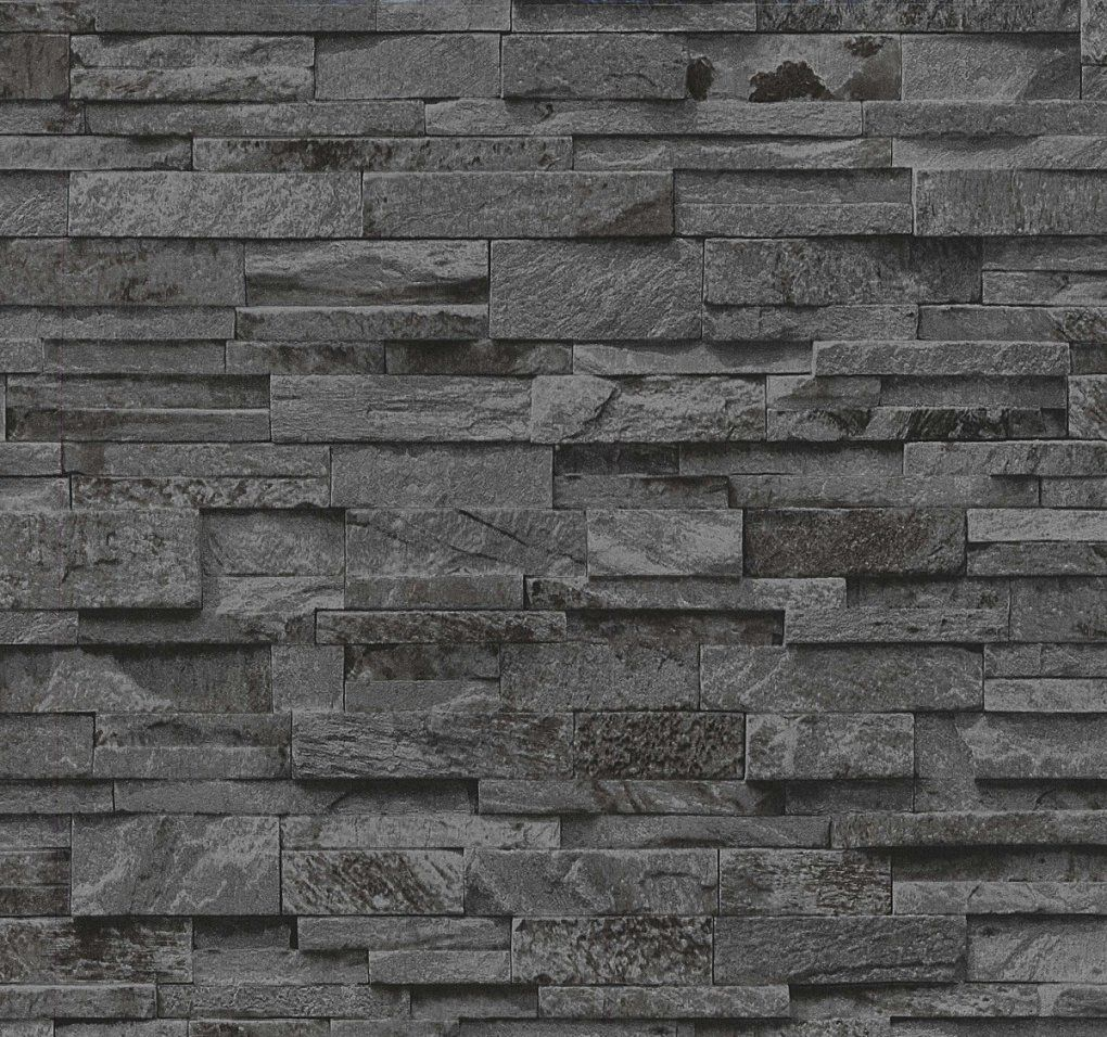 Vliestapete P+S Stein 3D Optik Schwarz Grau Mauer 0236340 von Stein Tapete 3D Optik Bild
