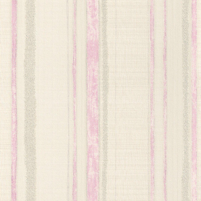 Vliestapete Romance  Rosaweiß  Gestreift  105 Meter von Tapete Rosa Weiß Gestreift Bild