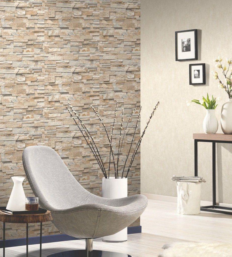 Vliestapete Stein 3D Optik Beige Grau Mauer P+S 0236310  3D von Tapete Steinoptik 3D Wohnzimmer Photo