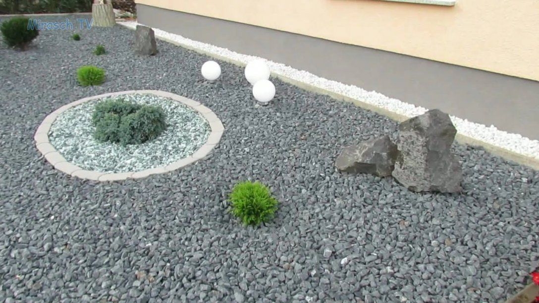 Vorgarten Mit Kies Gestalten  Youtube von Garten Mit Steinen Gestalten Photo
