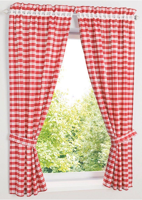 """Vorhang """"alvin"""" (4Tlg Set) Rot  Wohnen  Bonprix von Gardinen Rot Weiß Kariert Photo"""