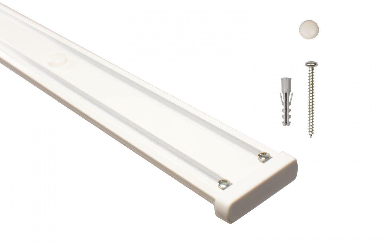 Vorhangschiene 2Läufig Weiß Aus Aluminium Inklusive Vorbohrung von Gardinenschiene 1 Läufig Deckenmontage Photo