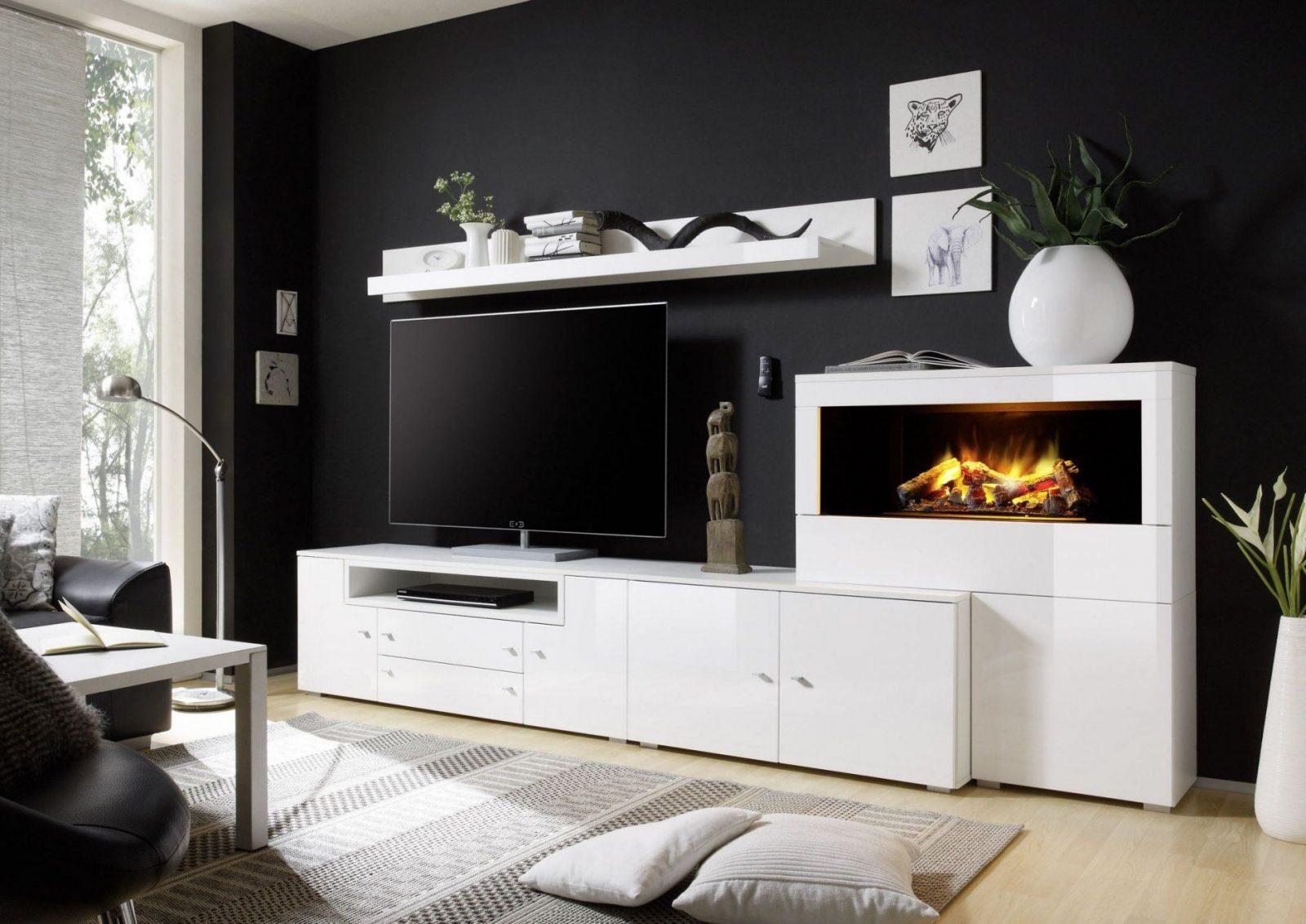 Wand Elektrokamin Elegant Wohnwand In Weiss Hochglanz Mit von Wohnwand Weiß Hochglanz Holz Bild