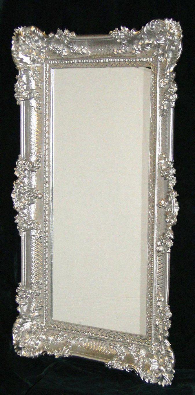 Wandspiegel Barock Großer Spiegel Silber Hochglanz 97X57 von Barock Spiegel Silber Groß Bild