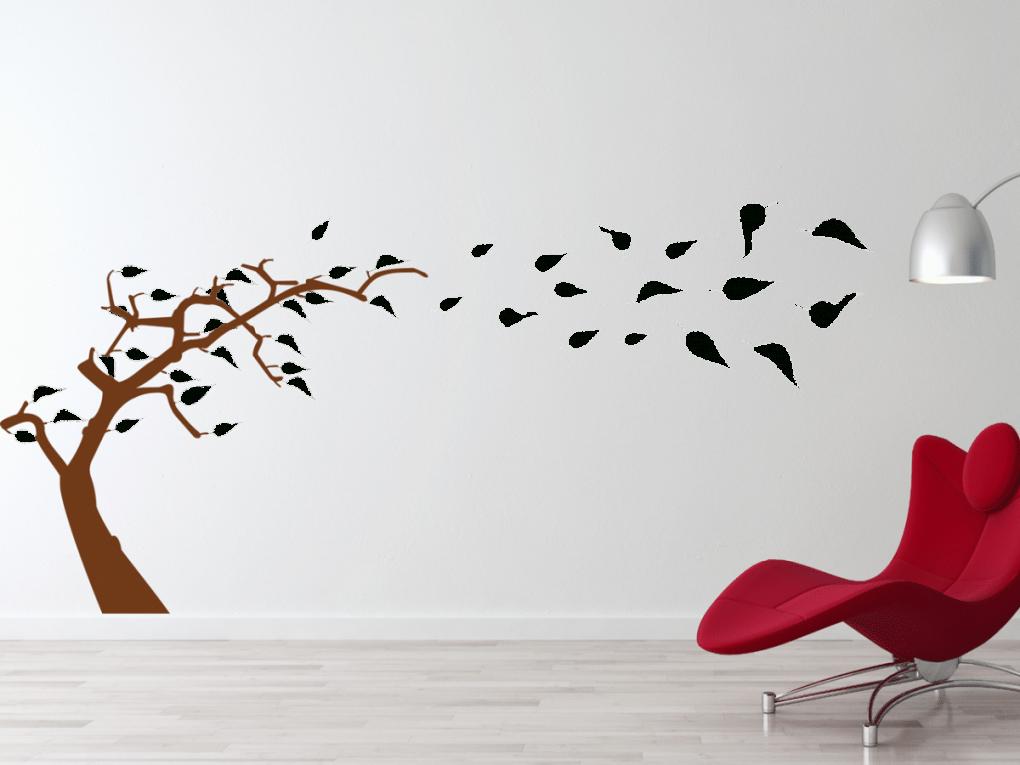 Wandtattoo Baum Im Wind Zweifarbig  Tocut Werbetechnik Wandtattoo von Wandtattoo Baum Im Wind Bild