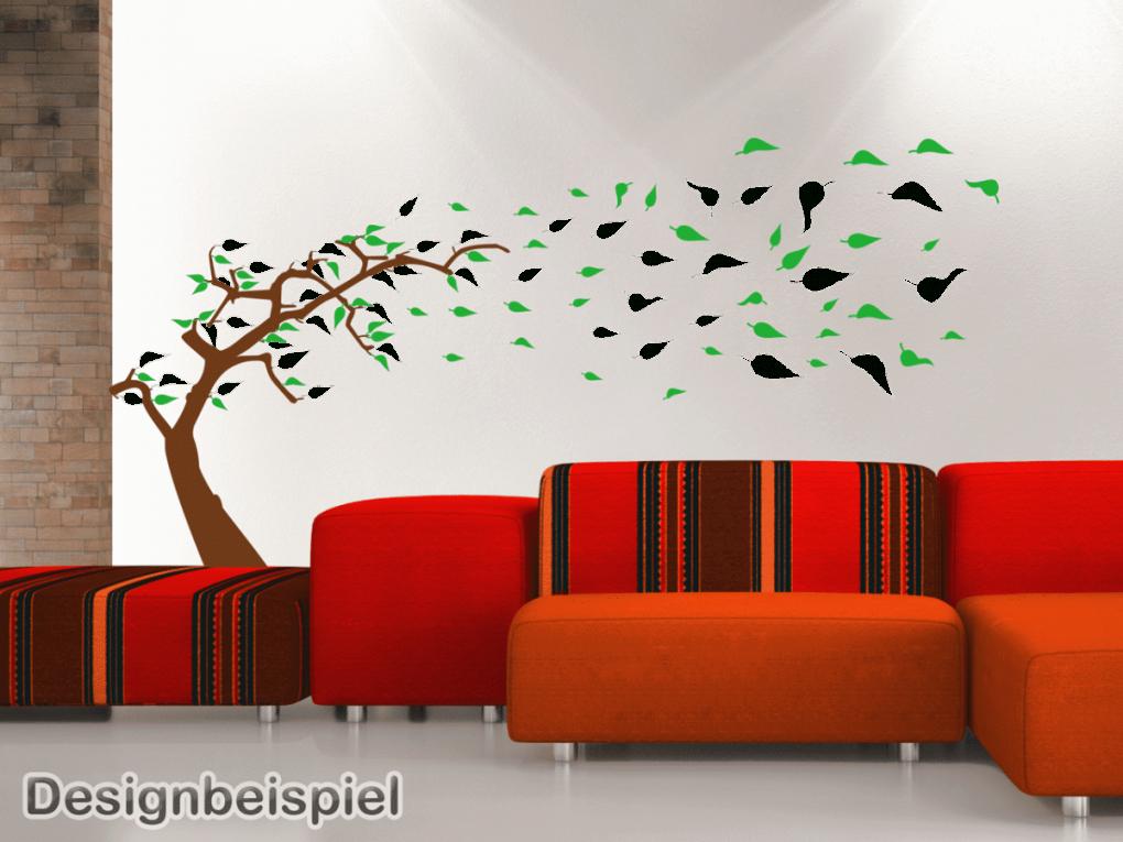 Wandtattoo Baum Im Wind Zweifarbig  Tocut Werbetechnik Wandtattoo von Wandtattoo Baum Im Wind Photo