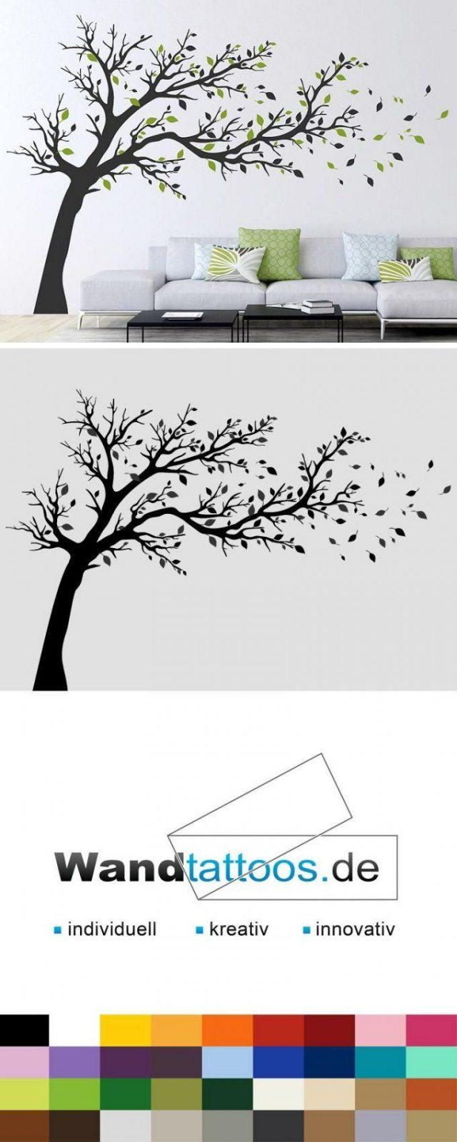 Wandtattoo Großer Baum Im Wind  Lieblingsfarbe Wandtattoos Und von Wandtattoo Baum Im Wind Bild