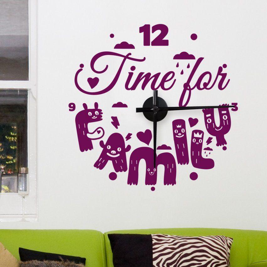 Wandtattoo Uhr  Time For Family von Wandtattoo Uhr Mit Spruch Bild