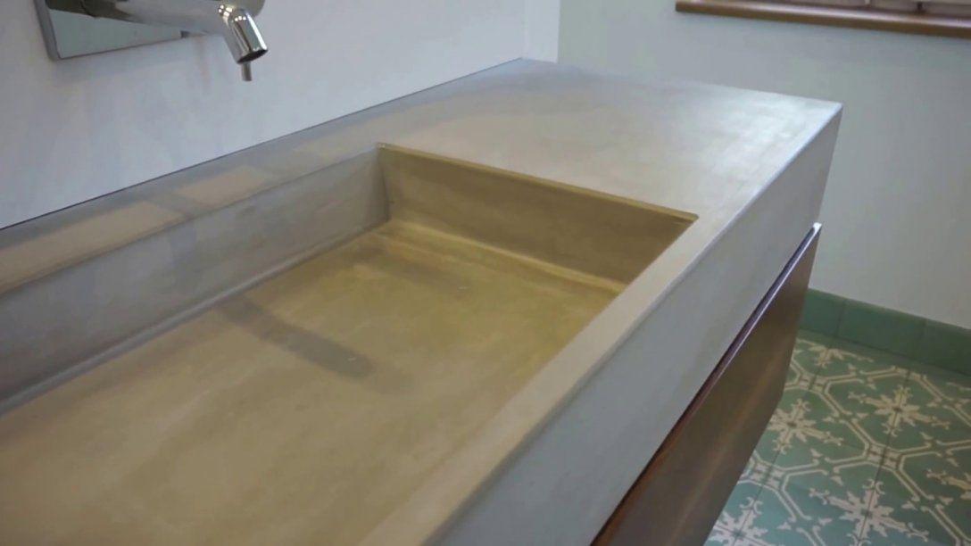 Waschtisch Aus Beton  Youtube von Arbeitsplatte Betonoptik Selber Machen Bild