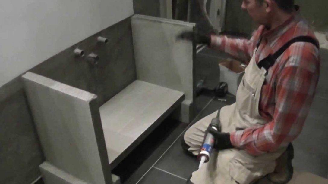 Waschtisch Aus Fixfoam  Youtube von Aufsatzwaschbecken Unterschrank Selber Bauen Bild