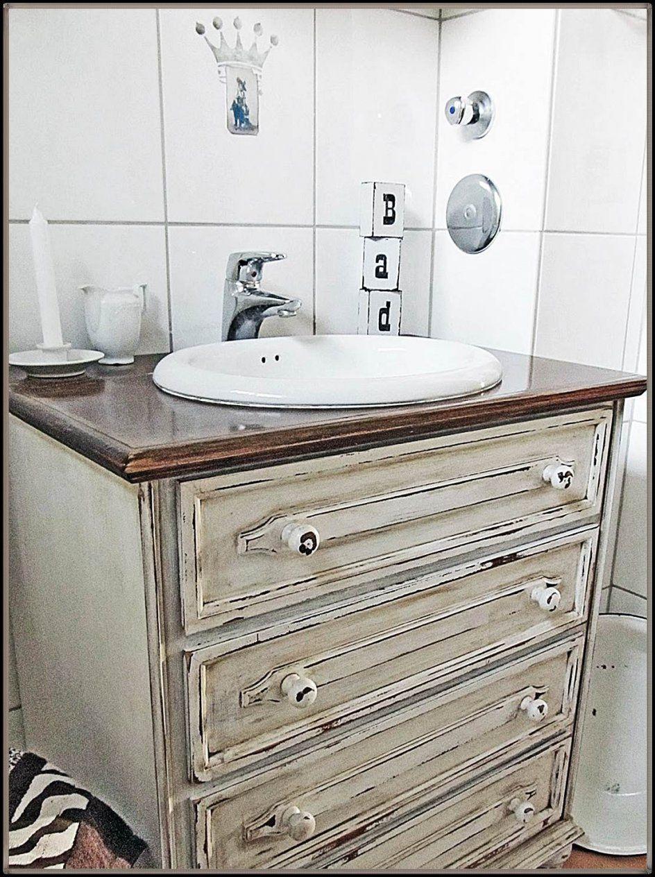 Waschtisch Aus Kommode Selber Bauen  Designideen Für Zu Hause von Alte Kommode Als Waschtisch Bild