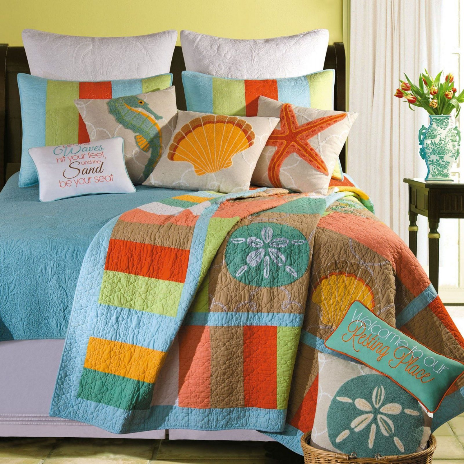 Washed Ashore Beach Themed Quilt Bedding von Beach Themed Bedding For Adults Bild