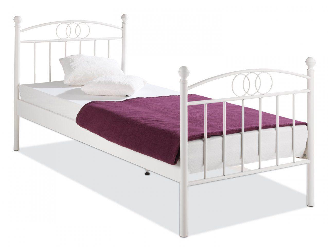 Weisses Einzelbett  Dibinekadar Decoration von Bett Metall Weiß 90X200 Bild