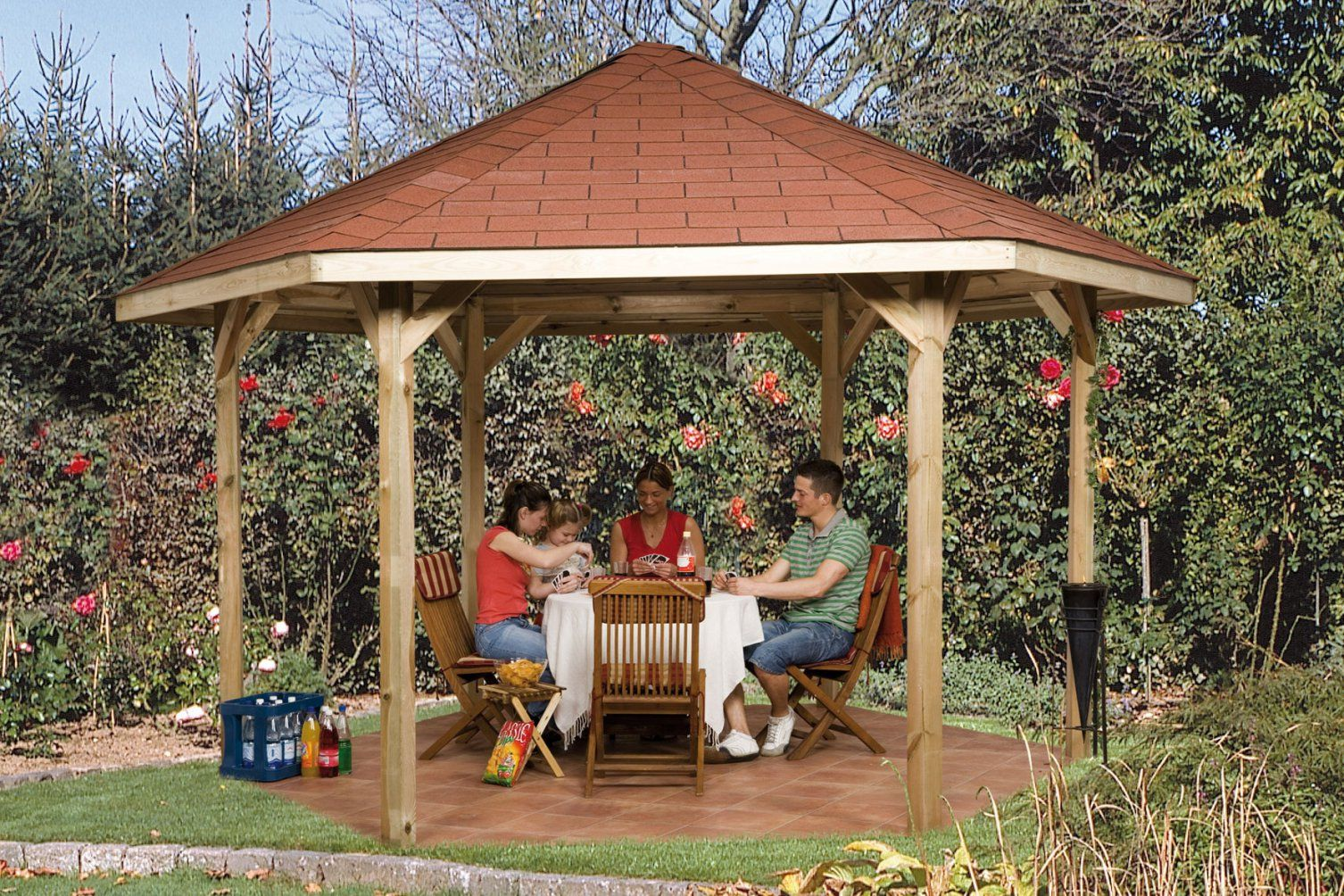 Weka Gartenlaube 656 Gr2 Pavillon Kdi 399X461Cm  Bei Edingershops von Pavillon 6 Eckig Holz Photo