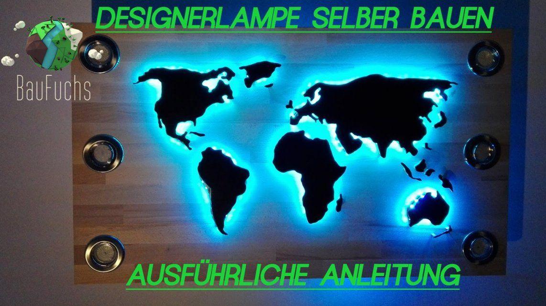 Weltkarte Designer Deckenlampe Selber Bauen Und Installieren von Led Leinwandbild Selber Machen Photo