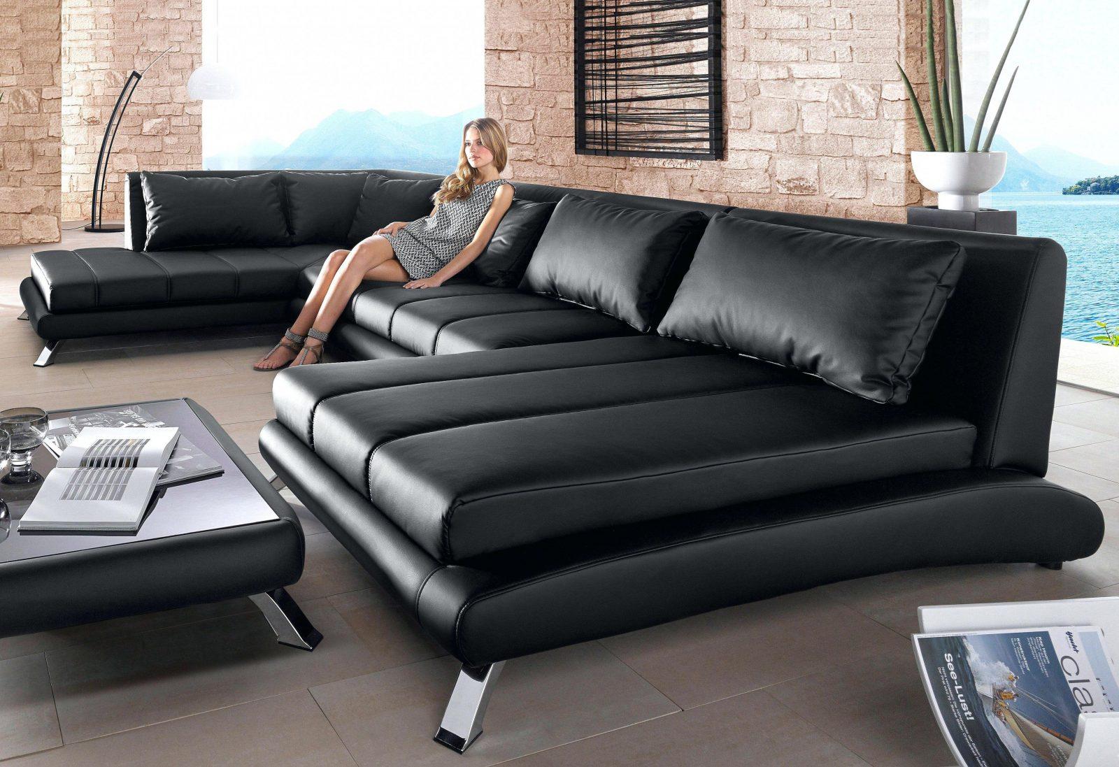 Moderne Sofa Wohnlandschaft Matera In Leder Als Xxl Version Mit