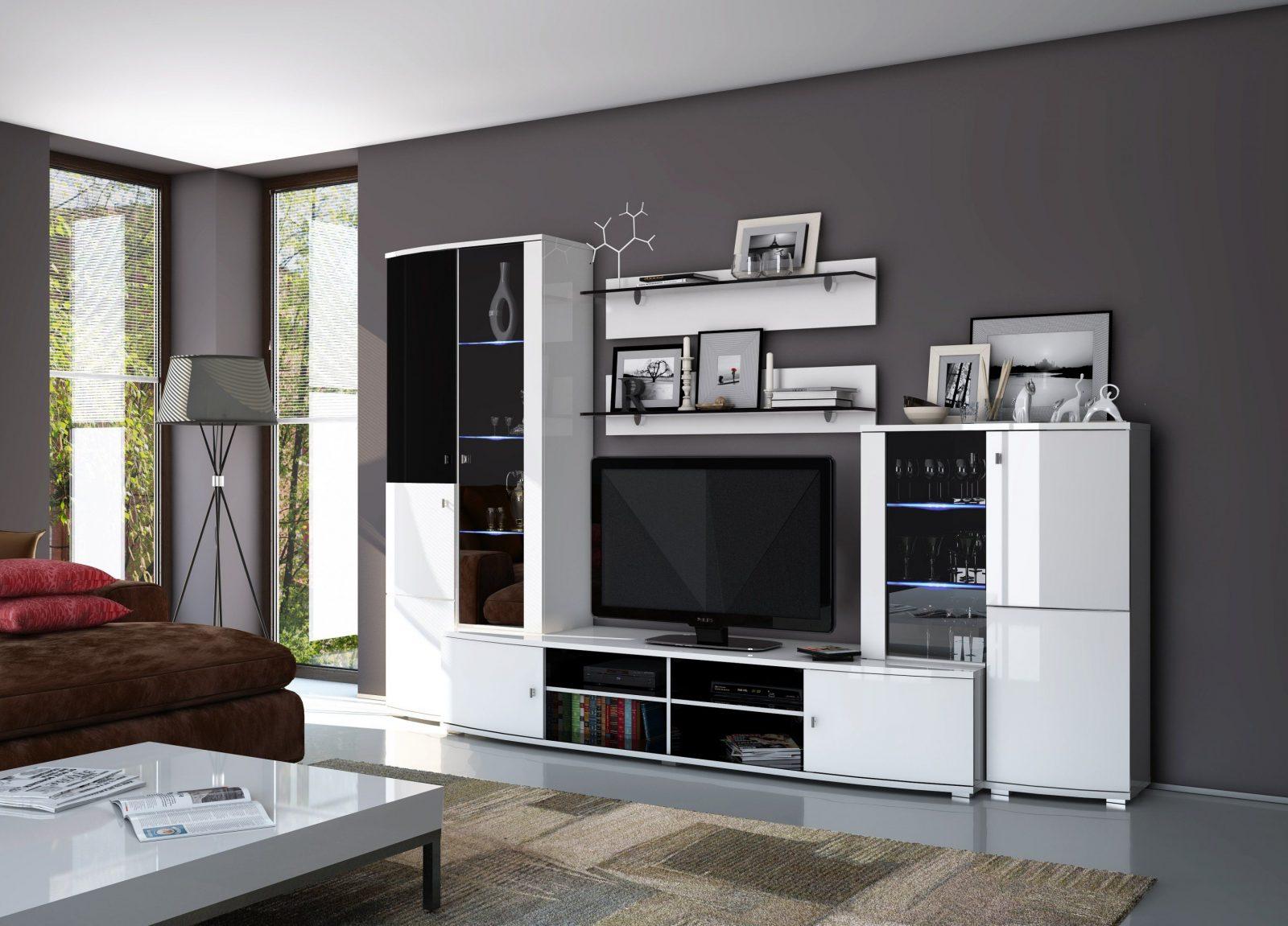 Wohnwand Mona Schwarzweiß 5Tlg Hochglanz Led  Jaago Möbelshop von Wohnwand Weiß Schwarz Hochglanz Photo