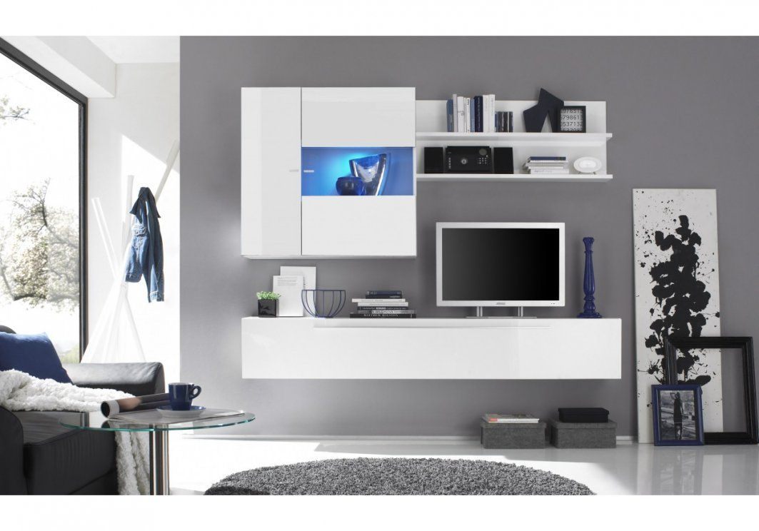 Wohnwand Weiss Hochglanz Lackiert Woody 1200424  Woody Möbel von Designer Wohnwand Weiß Hochglanz Photo