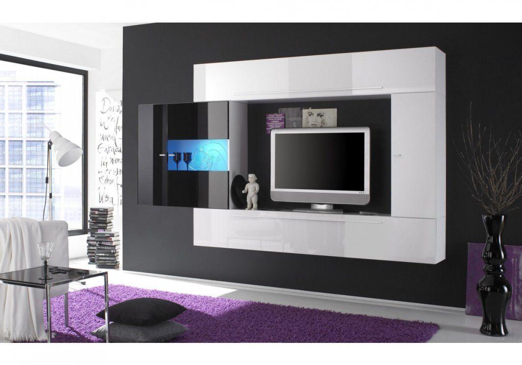 Wohnwand Weiss  Schwarz Hochglanz Lackiert Woody 1200421  Woody Möbel von Wohnwand Weiß Schwarz Hochglanz Bild