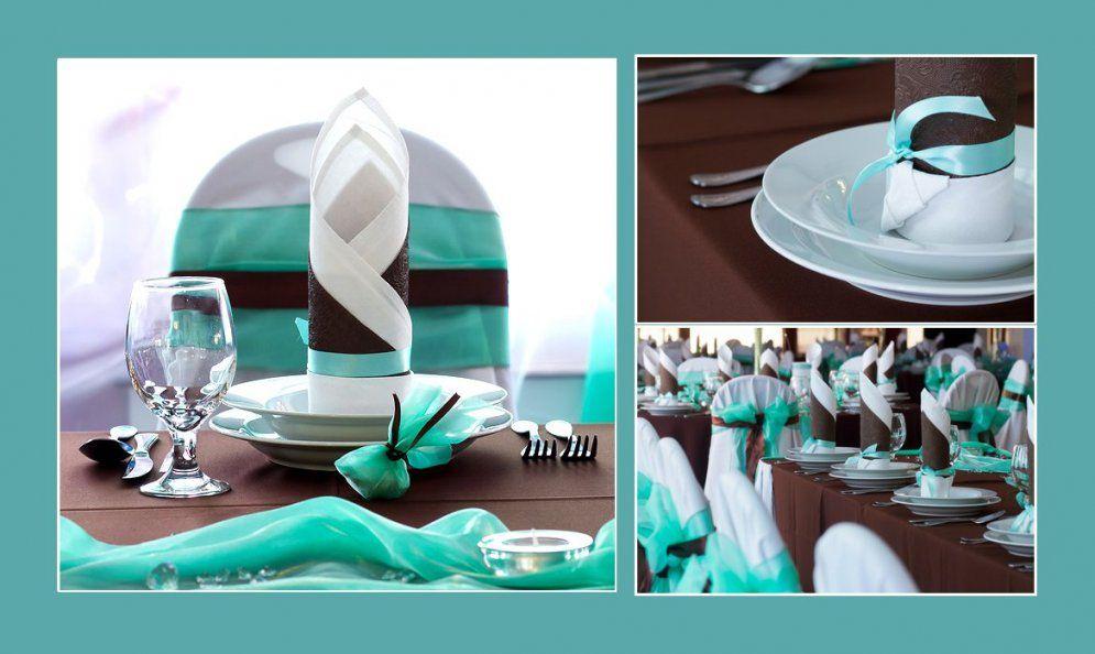 Zweifarbige Servietten In Blaßpetrol  Dunkles Graubraun von Servietten Falten Hochzeit Zweifarbig Bild