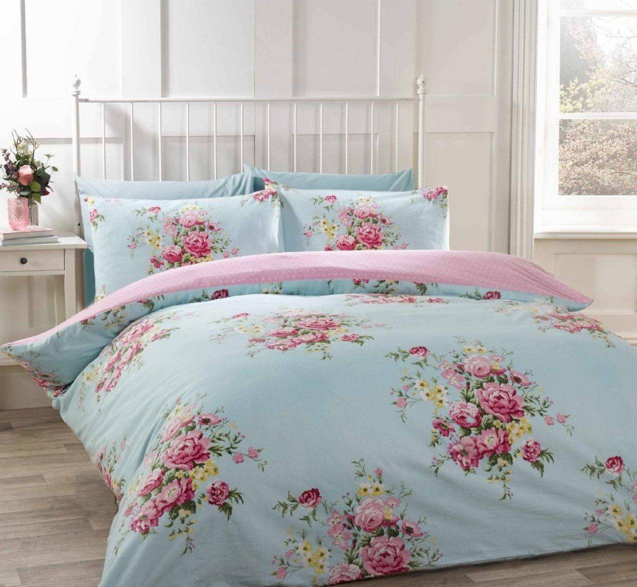 100% Baumwolle Biber Single Quilt Bettbezug Duck Egg Blau Und Pink von Shabby Chic Bettwäsche Photo