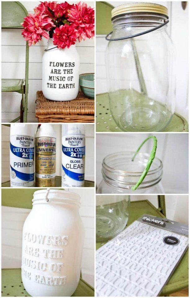 100 Diy Vases Or Centerpiece  Unique Ways To Diy Your Vases  Diy von Mason Jar Flower Vases Bild