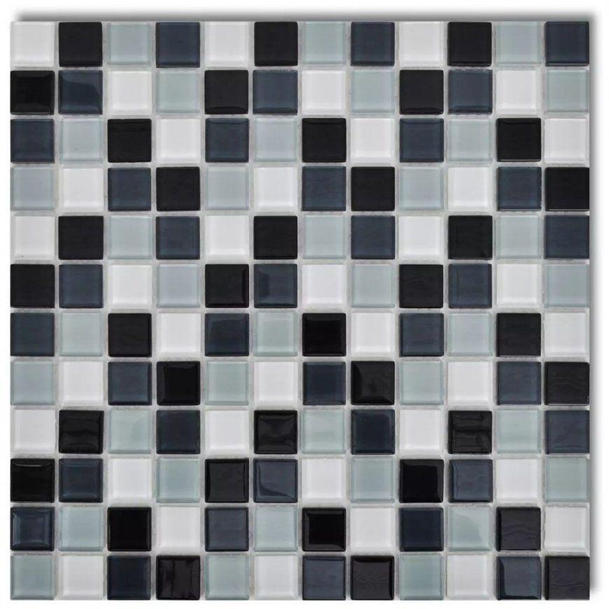 10X Glass Mosaik Fliesen Schwarzweißgrau 0 9 Qm  Kaufen Bei Vida von Mosaik Fliesen Schwarz Weiß Grau Photo