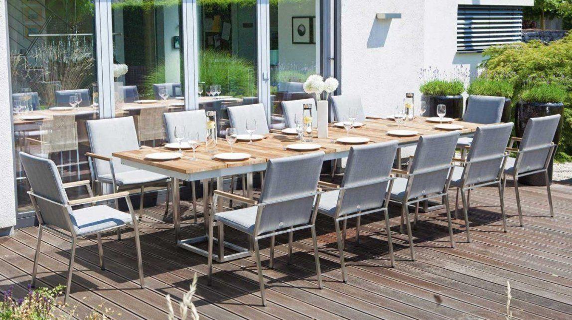 12Personengartentisch Aus Edelstahl Und Massivholz  Gartenmöbel von Gartentisch Für 12 Personen Photo