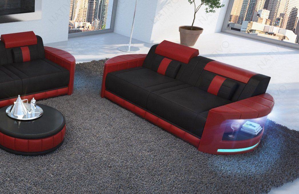 2 Sitzer Atlantis Moderne Preiswerte Ledercouch Von Nativo Kaufen von Couch Mit Led Beleuchtung Bild