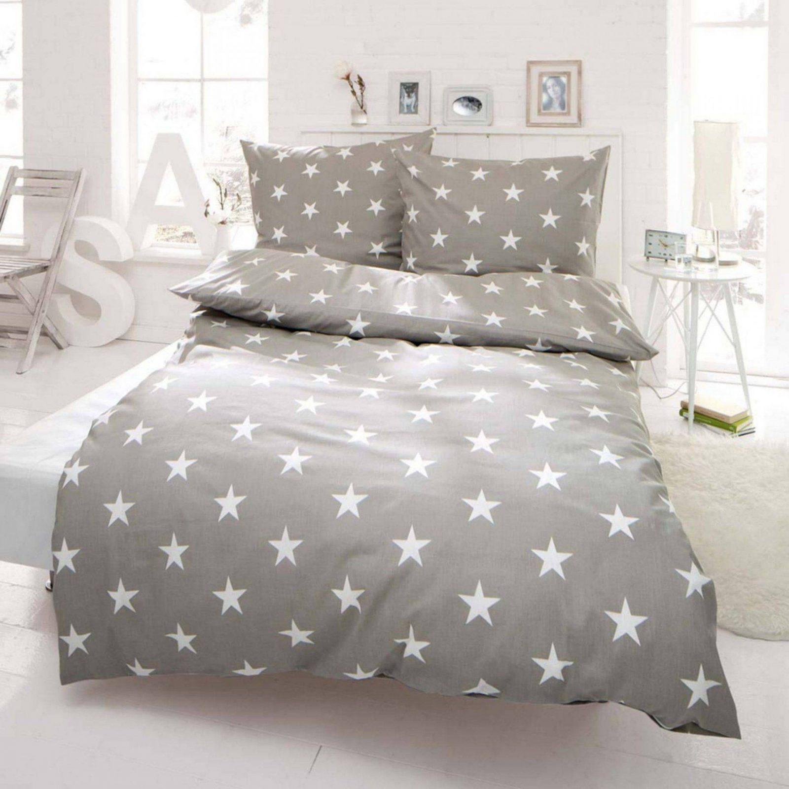 2 Tlg Bettwäsche Microfaser 155X220 Cm Sterne Grau Weiß Neu von Biber Bettwäsche Sterne Grau Bild