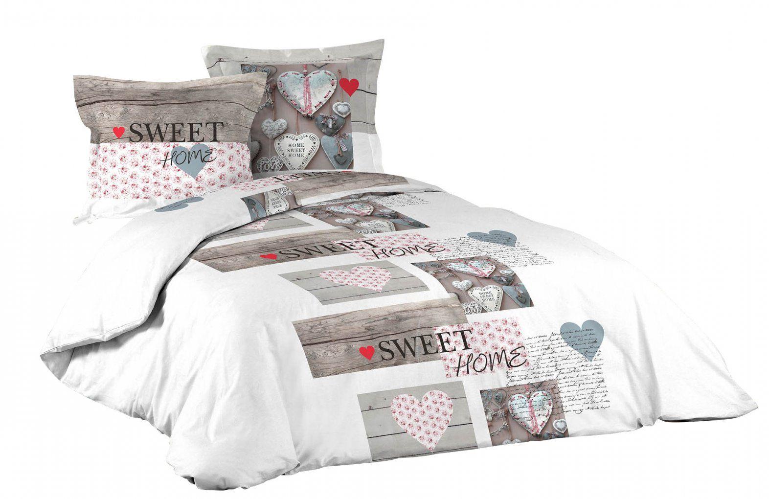 3Tlg Landhaus Bettwäsche 240X220 Baumwolle Bettdecke Übergröße von Übergröße Bettwäsche Maße Bild