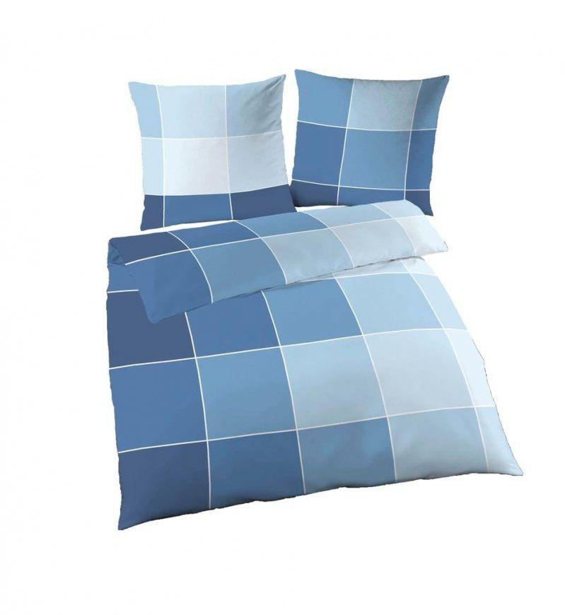 4 Tlg Bettwäsche 155 X 220 Cm Karo Blau Fein Biber  Real von Biber Bettwäsche Übergröße 155X220 Bild