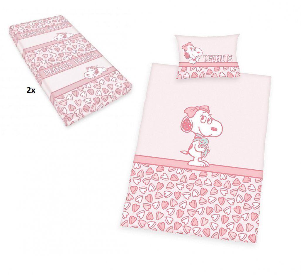 4Tlg Baby Bettwäsche Set 100X135 40X60Cm Snoopy Belle Inkl 2X von Qvc Bettwäsche Badizio Spannbettlaken Bild