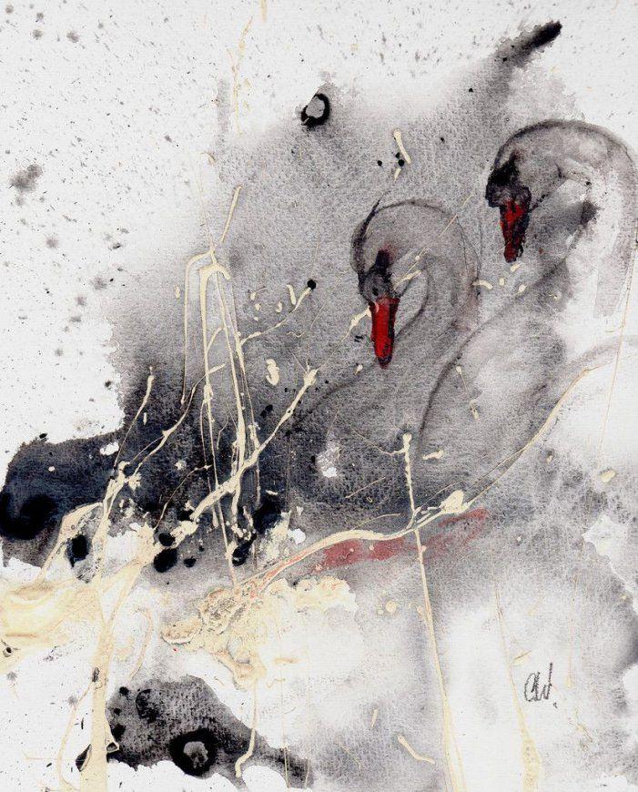 Abstrakte Malerei Schwäne Figurativ  Acryrelle  Pinterest von Gemalte Bilder Schwarz Weiß Photo